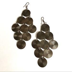 Lovely metal spiral coin earrings